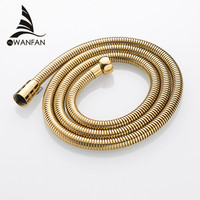 Plumbing Hoses Stainless Steel Gold 150cm Tube Shower Hose Flexible Shower Head Replacement Part Bathroom Water Hose HJ 0515