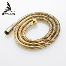 Plumbing Hoses Stainless Steel Gold 150cm Tube Shower Hose Flexible Shower Head Replacement Part Bathroom Water Hose HJ-0515