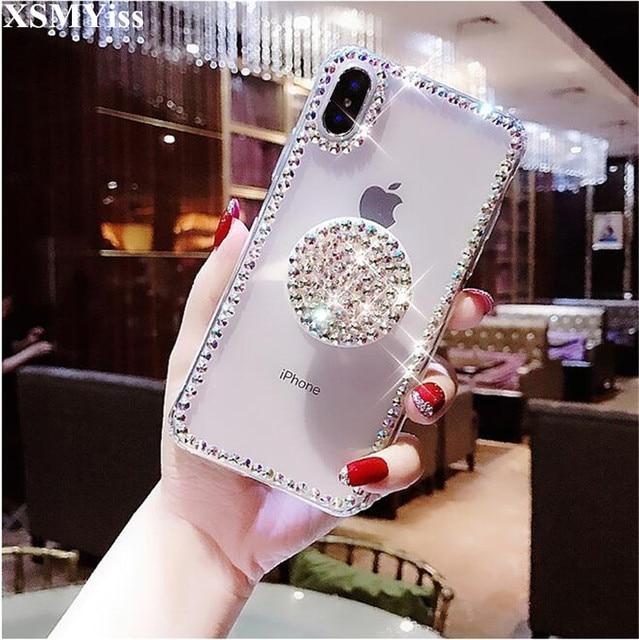 For Iphone 5C 5S SE 6 6S 7 8 Plus X XS MAX XR Luxury Airbag Handle Bracket  Rhinestones Diamond Glitter Phone Case Cover Crystal 178afddb77e4