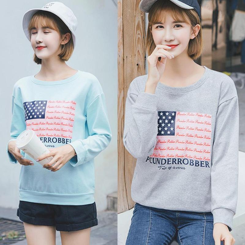 Simple Casual Long Sleeve Fashion Women Cute Flag Print T-shirt Soft Tops Hoodie