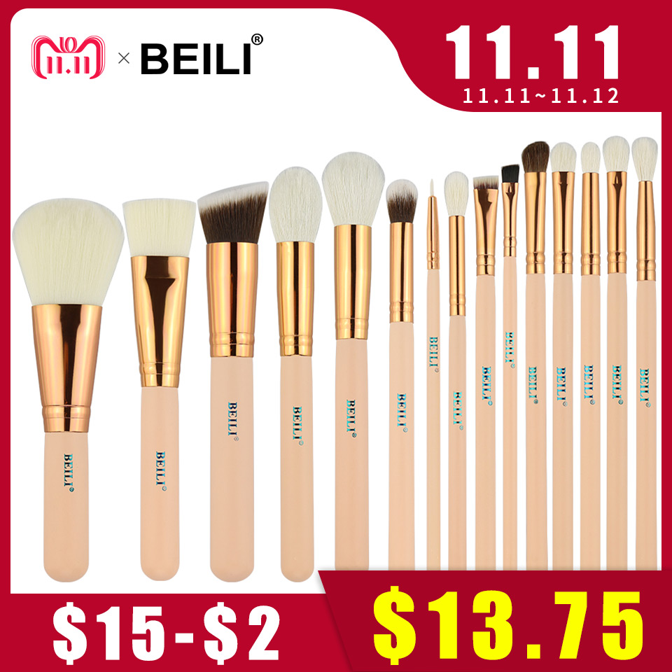 BEILI 15Pcs Pink Rose Golden Natural goat Horse Hair Foundation blusher eye Blending Contour Powder liner Makeup brush set beili 12 pieces black premium goat hair synthetic powder foundation blusher eye shadow concealer makeup brush set cosmetic bag