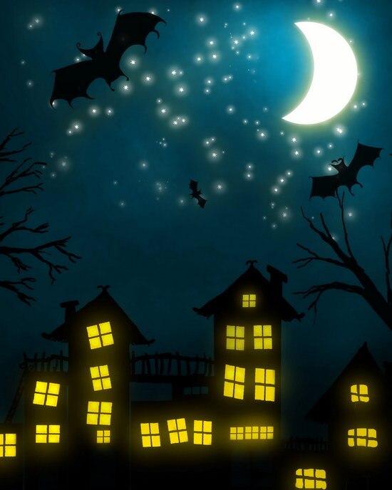 Custom vinyl cloth Halloween city party night bats photography backdrops for children kids photo studio portrait backgrounds
