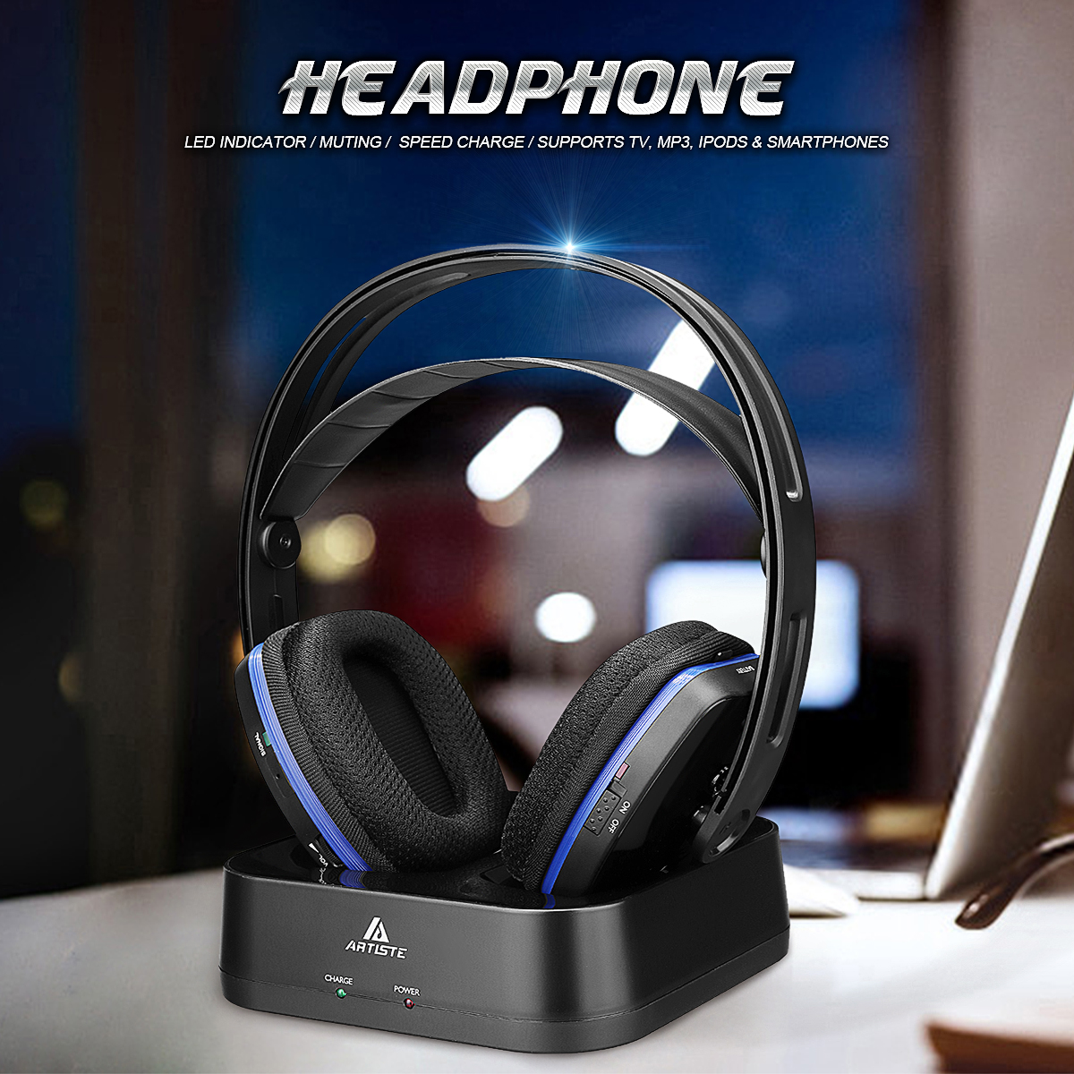 Artiste D2 2.4GHz HiFi Bluetooth Headphone Deep Bass Wireless TV Headphone with Transmitter Dock For Mobile Phone Music шапка globe ray beanie midnight