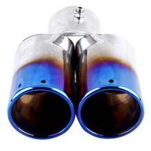 Universal Car Vehicle Exhaust Muffler Steel Tail Pipe:Straight Double Tube(blue)
