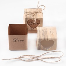 Set of 100 Kraft Paper Wedding Party Favor Boxes Set