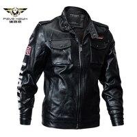 Men's Winter Tactical PU Leather Jacket Slim Military Bomber Jacket Faux Leather Coat Army Pilot Motorcycle Jacket Plus Size 4XL