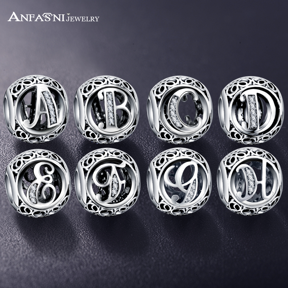 Dropshipping ANFASNI Real 925 Sterling Silver Vintage Clear Letter Bead Charms Fit Pandora Women Charm Bracelets Silver Jewelry(China)