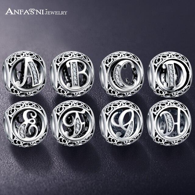 Дропшиппинг ANFASNI Настоящее 925 пробы серебро Винтаж Ясно Бусина буква талисманы Fit Pandora для женщин браслеты с подвесками серебряные ювелирные