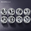 ANFASNI Authentic 925 Sterling Silver Vintage Clear Letter Bead Charm Fit Original Pandora Charm Bracelets Silver Jewelry