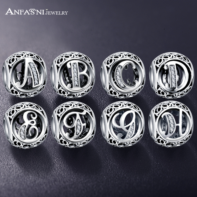 ANFASNI Authentic 925 Sterling Silver Vintage Clear Letter Bead Charms Fit Original ANFAS Women Charm Bracelets Silver Jewelry