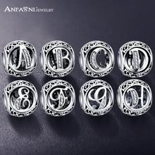 ANFASNI Authentic 925 Sterling Silver Vintage Clear Letter Bead Charms Fit Original Pandora Women Charm Bracelets Silver Jewelry