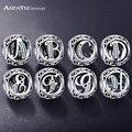 Anfasni authentic 925 sterling silver vintage limpar carta bead charme fit pandora original charm pulseiras jóias de prata