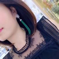 Qi Xuan_Green халцедон кисточкой серьги S925 посеребренные Белое золото ручной инкрустированные изысканный атмосфера ухо заклепки рекламные