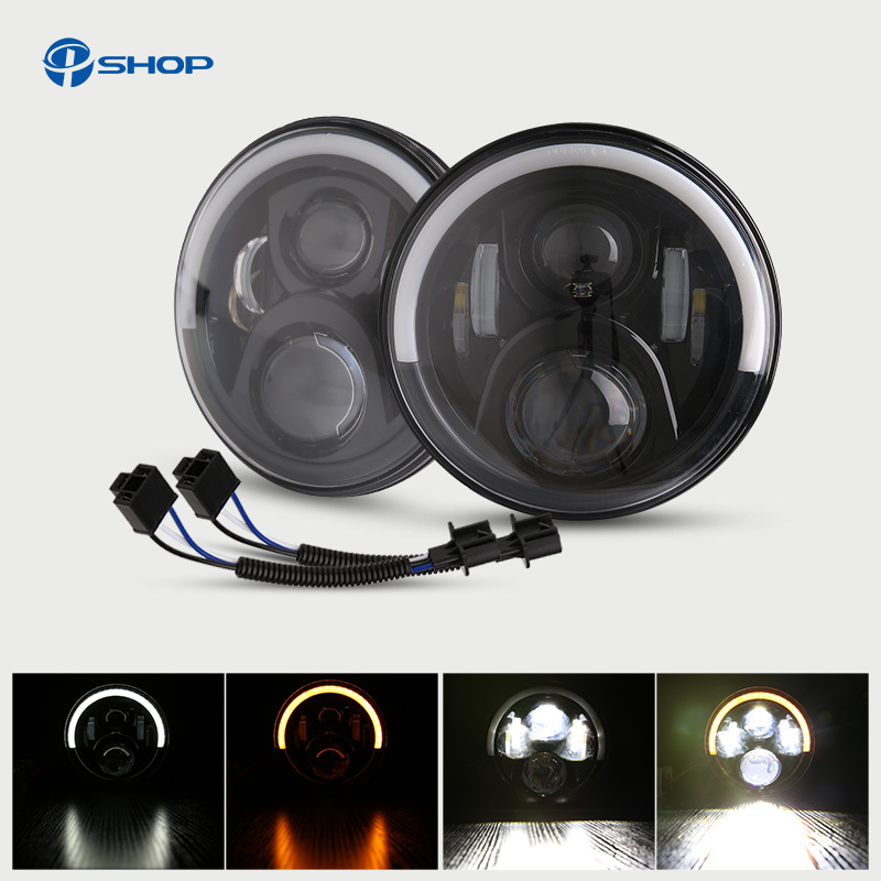 7 Round/inch Led Headlight H4 H13 Round Shape 7 Headlights with Yellow & White Angel Eye for Jeep Wrangler Lada 4x4 50W/30W7 Round/inch Led Headlight H4 H13 Round Shape 7 Headlights with Yellow & White Angel Eye for Jeep Wrangler Lada 4x4 50W/30W