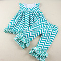Baby Girl Children Summer Clothes Turquoise Color Knit Cotton And Satin Chevron Zigzag Ruffle Top + Double Ruffles Pants Set