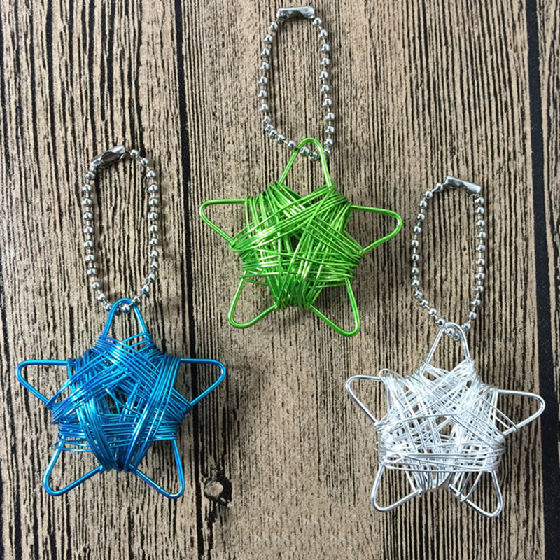 Pentagram Craft Wire Metal Christmas Pendant Bag Accessories Pendant for Good Luck Home Car Hanging Decor Wall Hang