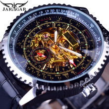 Jaragar Skeleton Golden Mens Watch Sport Mechanical Sub Second Dial Design Montre Homme Clock Black Leather Automatic Wristwatch