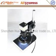 Buy 1/Set BNC/AV 800TVL 1/3″ CCD Digital Industry Microscope Camera + C-Mount Lens + 56 LED Ring Right+ Stand Holder  for Lab PCB
