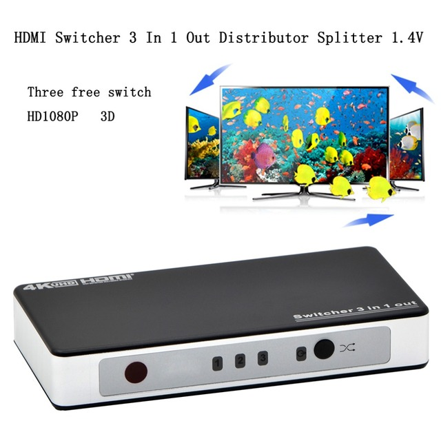 Promotion 3 Port HDMI Switcher Switch Splitter 1.4V US/EU Plug With 5V Power Adaptor And Remote Control Black