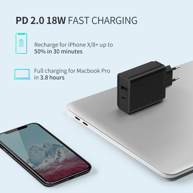 18 W Type C and USB Adapter for Fast Phone Charging