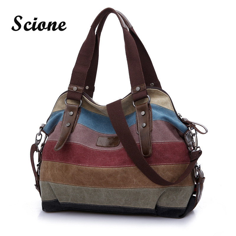 2017 New Arrival Canvas Women Bags Shopping Handbag Tote Striped Rainbow Color Patchwork Bag Beach Totes