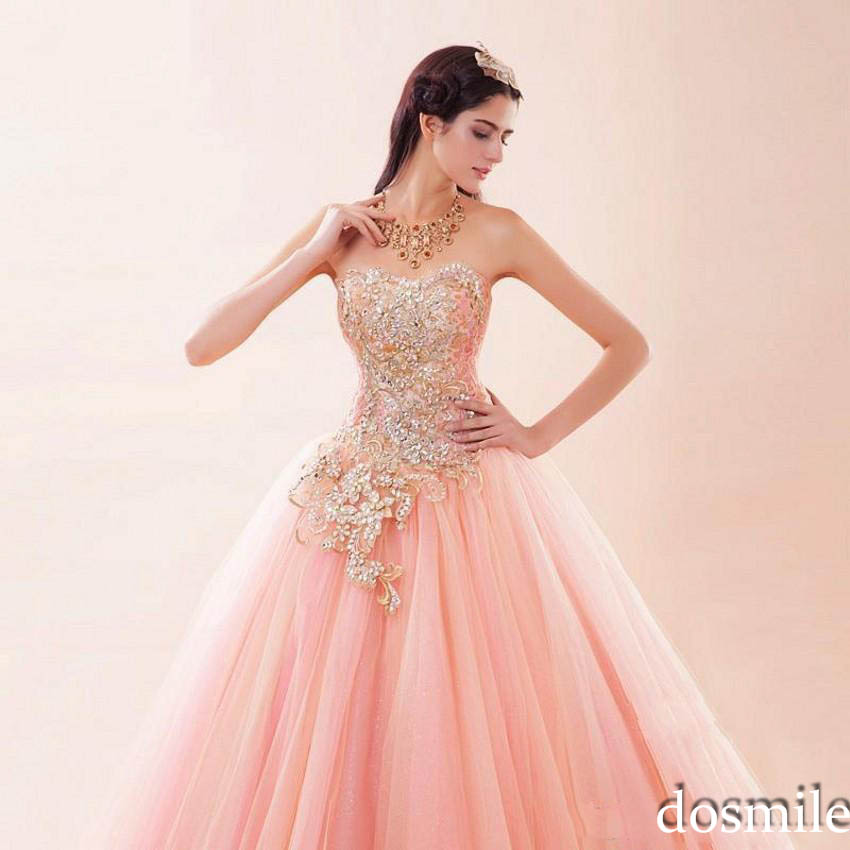 2017 sexy Princess Luxury Appliques pink tulle sweet strapless Ball ...
