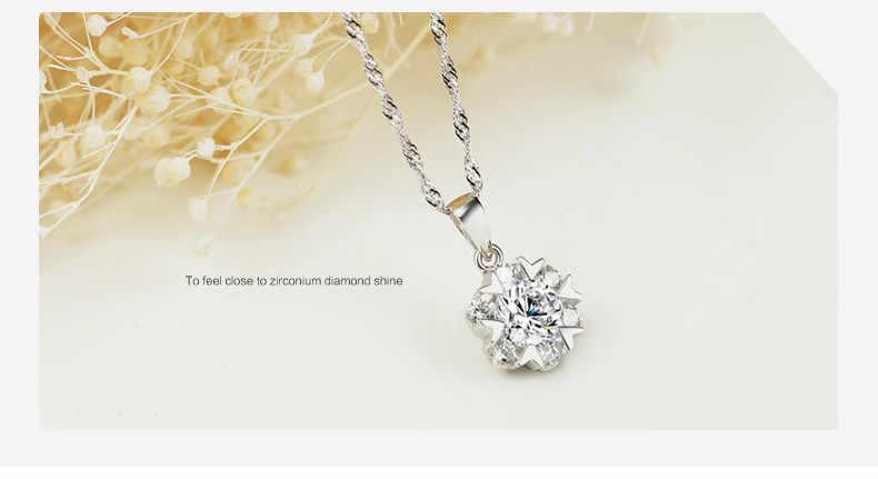 Hurtownie wisiorek – biżuteria stałe srebro wisiorek ze srebra próby 925 płatek śniegu fantazyjne mody biżuteria z pudełkiem 18 cali naszyjnik