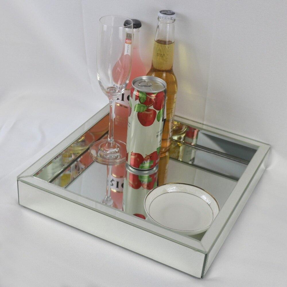 Plateau assiette à fruits en verre carré | Plateau à vin en verre miroir moderne, plateau de rangement pour décoration de mariage, plateau de Collection de maquillage