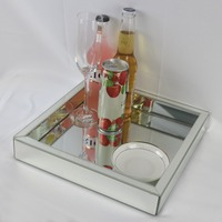 Square Glass Wine Tray Mirrored Modern Fruit Plate Tray Wedding Decoration Storage Tray Makeup Collection Tray