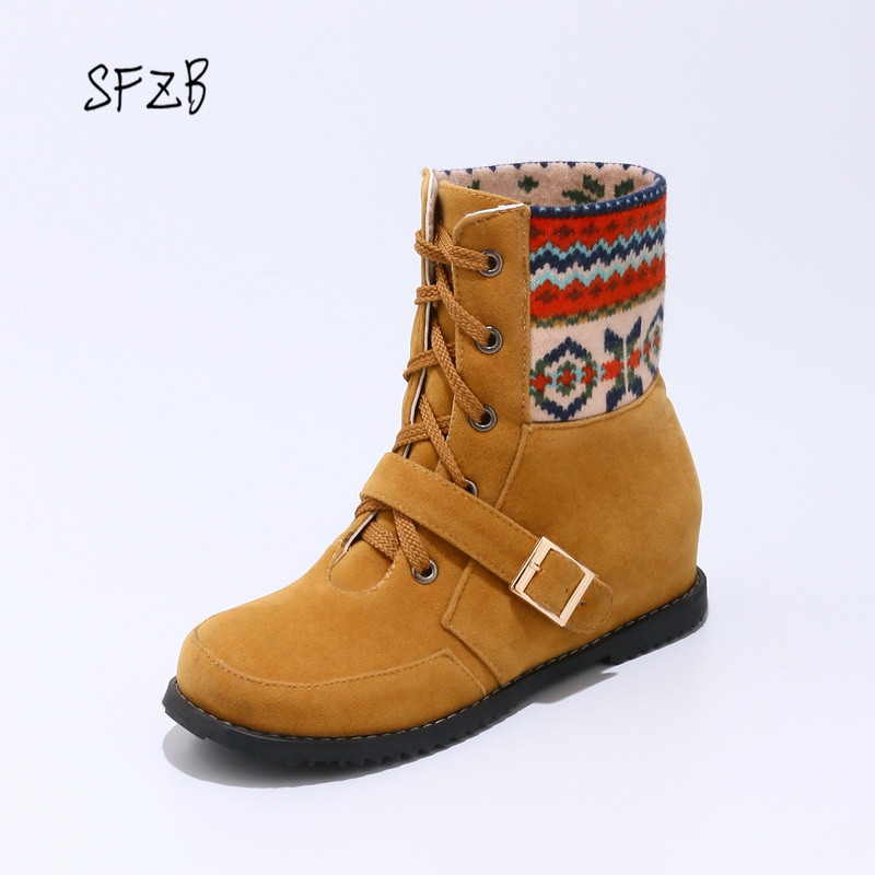 SFZB New Fashion Women Ankle Boots Lace Up Buckle Design Spring and Autumn low Heel Ladies Motorcycle Boots Size 33-43