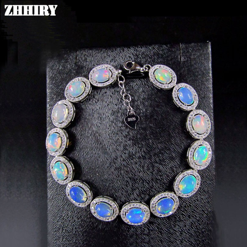 ZHHIRY Women Natural Opal Gem Bracelet Genuine Solid 925 Sterling Silver White Fire Color Precious Stone Fine Jewelry-in Bracelets & Bangles from Jewelry & Accessories    2