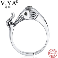 V YA Vintage Style Elephant Rings For Women Lady Real Pure 925 Sterling Silver CZ Crystal