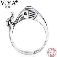 V. YA Vintage-stil Elefanten Ringe Für Frauen Dame Echt Reine 925 Sterling Silber CZ Kristall Tier Offenen Ring schmuck