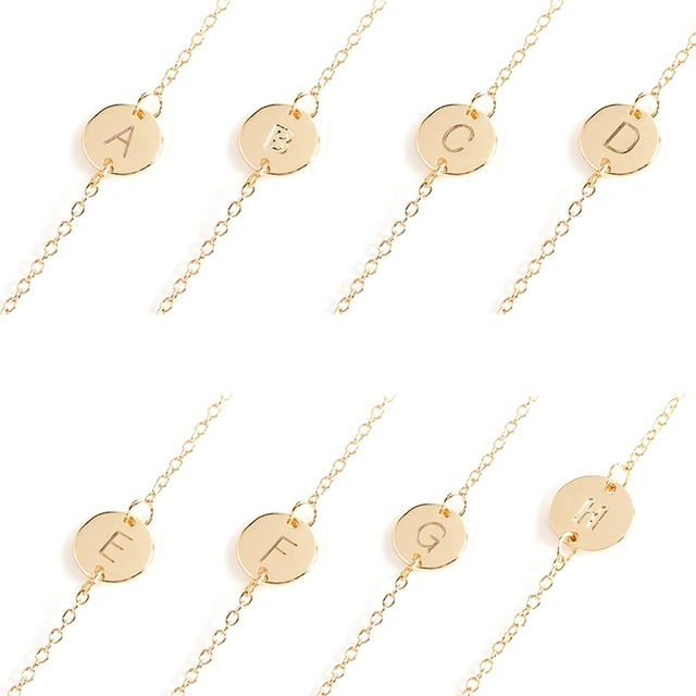 new fashion minimalist a to s letter bracelet for women birthday gift elegant 26 english alphabet
