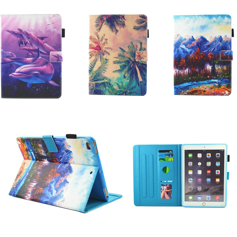 Fashion Painting Silicone PU Leather Flip Smart Case For Apple iPad Air 1 2 Cover For New iPad 9.7 inch 2017 Release Funda capa nice soft pu leather case for apple 2017 new ipad air 1 cover slim thin flip tpu silicone protective magnetic smart case shell