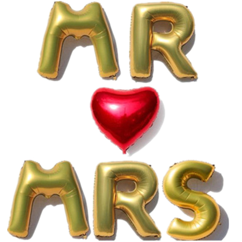 16 inches letter balloons mr mrs red heart foil balloons wedding anniversary valentines day wedding party