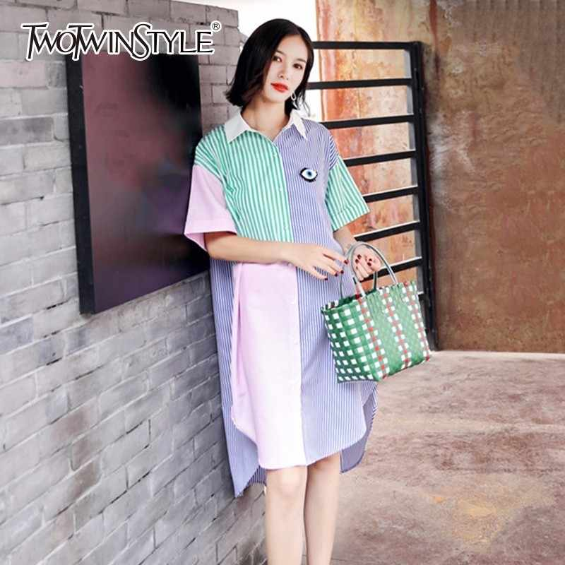 c51cd423b60 TWOTWINSTYLE Shirt Dress Female Short Sleeve Patchwork Split Asymmetrical  Summer Midi Dresses Women 2018 Fashion Korean
