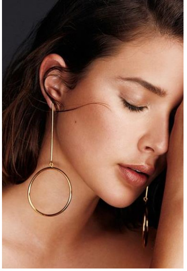 Gold Silver Plated Hoop Earrings For Women Brincos De Argola Aros Largos Bijoux Long Circle Hoops Ohrringe Sieraden In From