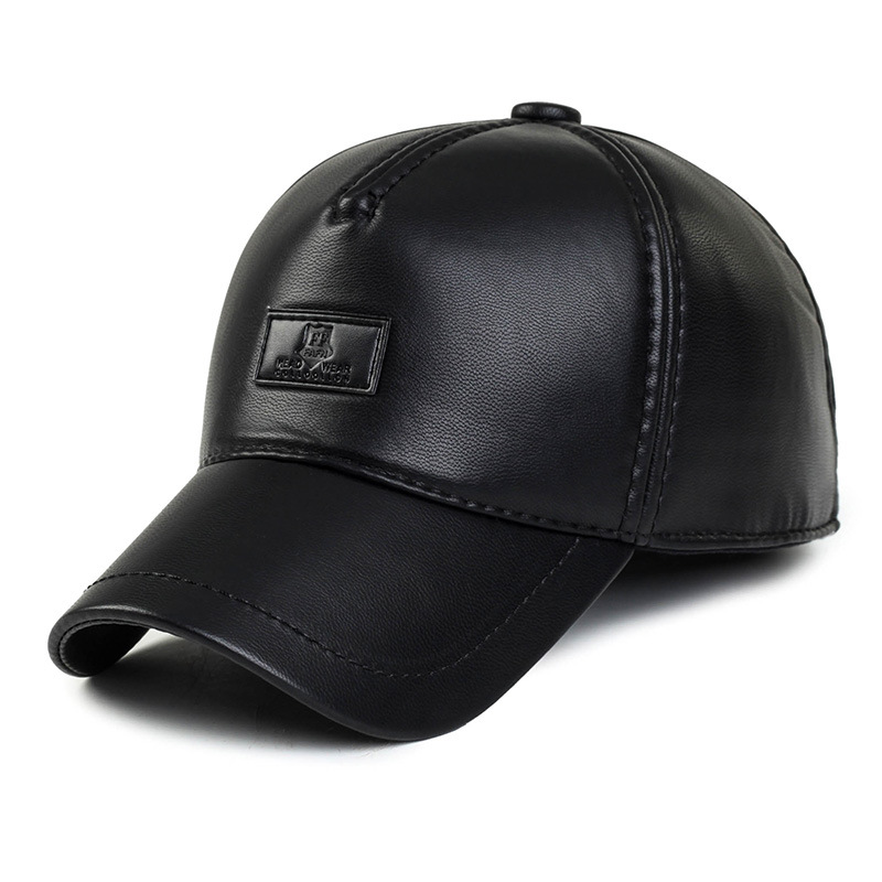 Faux Leather Baseball Cap For Men Autumn Winter PU Hats With Ear flaps Keep Warm Earmuffs Bone Snapback Caps For Men Wholesale winter fashion men genuine leather peaked cap ceiling earmuffs dome hat male keep warm adjustable real leather hats for parents