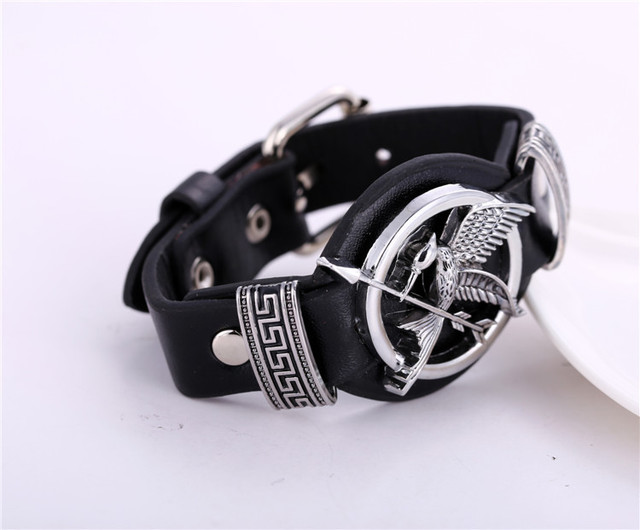 The Hunger Games Bird Arrow Cosplay Black Punk Leather Bracelet