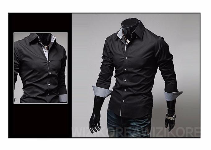 Mens Casual Shirts 2016 Hot Sale Mens Slim Fit Dress Long Sleeve Shirts Soild Male Social Shirts Designer Chemise Homme 3XL 25 6