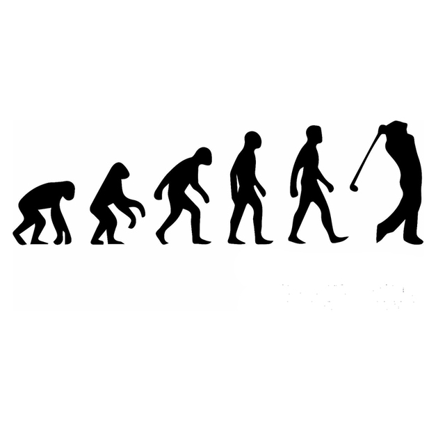 History of Human Evolution From Apes To Golfer Car Sticker