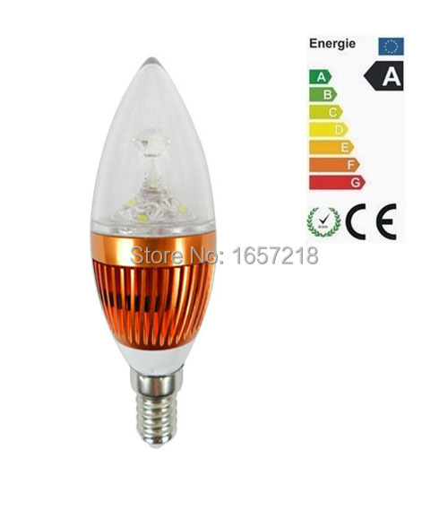 10pcs/Lot E14 3W Bridgelux White/Warm White Candle LED Light Bulb LampLED High Power LED Bulb Lamp Candle Light Energy Saving