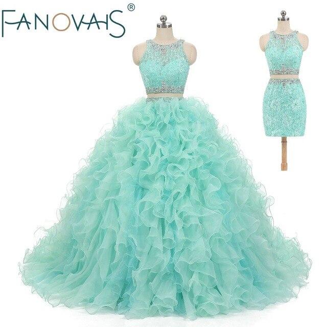 ccf86a12a Menta verde Quinceanera Vestido de dos piezas del baile de graduación  vestidos de encaje Vestido de