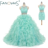 Mint Green Quinceanera Dress Two Pieces Short Prom Dresses With detachable Train Lace Vestido de Festa Ball Gowns