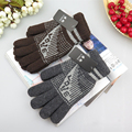 2017 Autumn and Winter men's fashion Print color knitted gloves male thicken thermal warm student wool knitted gloves mittens