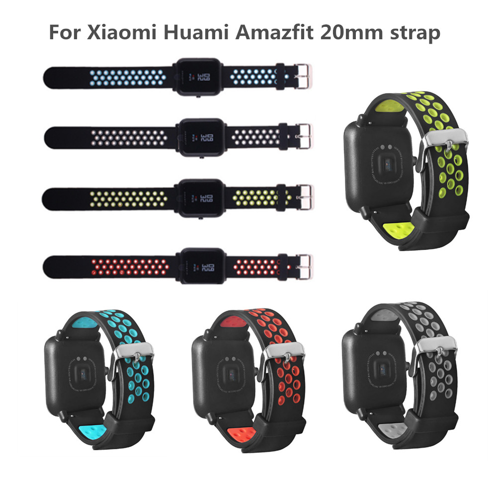 FIFATA Replace Watch Straps for Amazfit Youth Dual Silicone Straps for Original Xiaomi Huami Bip BIT PACE Lite Youth Smart Watch xiaomi huami smart watch amazfit bip [english version] sports watch pace lite bluetooth 4 0 gps heart rate 45 days battery ip68