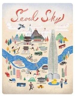 City Elements Of Seoul South Korea Travel Tour Retro Vintage Poster Canvas Painting DIY Wall