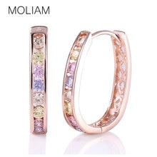 MOLIAM Crystal Rhinestone Earing for Women 2017 Hot New Fashion Cubic Zirconia Hoop Earrings Jewellery High Quality MLE307