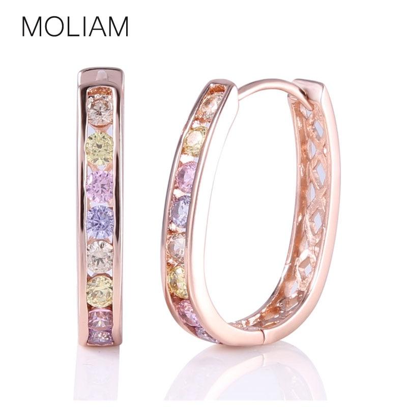 महिलाओं 2017 गर्म नए फैशन घन Zirconia घेरा कान की बाली आभूषण उच्च गुणवत्ता MLE307 के लिए MOLIAM क्रिस्टल स्फटिक की कमाई